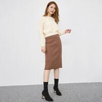 2018秋冬新款韩版高腰修身中长款针织包臀裙半身裙女 咖 均码