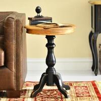 【优选】出口欧洲法式乡村美式边几角几全实木家具定制橡木复古做旧小圆桌 定金颜色尺寸联系客服
