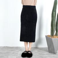 阿姨分享针织半身裙女秋冬2018新款毛线中长款包臀修身黑色高腰裙 黑色