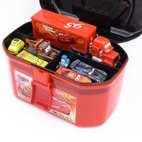 汽车赛车总动员3黑风暴杰克逊麦昆合金玩具车收纳盒手提箱 红色手提箱+14款主角
