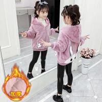 中大童小女孩加绒加厚保暖上衣2019新款韩版时髦洋气女童冬装外套