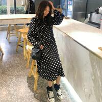 三木子快时尚女装~2019新款韩版复古波点荷叶领仙女连衣裙潮