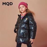 【折后券后�A估�r:327】MQD童�b女童中�L款亮面羽�q服2020冬�b新款�和�加厚保暖羽�q外套