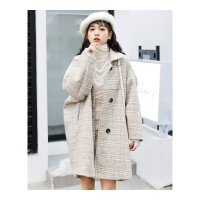 秋冬新款韩版中长款大衣森系格子毛呢外套女学生流行呢子风衣