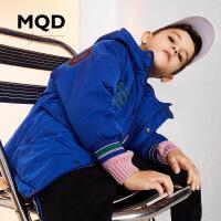 MQD男童童装2019棉衣冬季新款中长款加厚儿童连帽面包