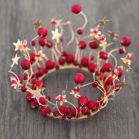 皇冠头饰儿童发饰红色女童公主王冠花童彩色头箍女孩发箍生日礼物MYZQ52 红色