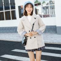 毛呢外套女2018冬季新款韩版宽松学院风中长款学生小个子呢子大衣