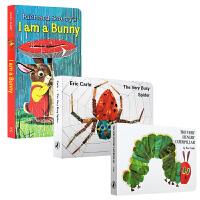 英文原版幼儿入门启蒙3本纸板书套装I Am a Bunny The Very Hungry Caterpillar The Very Busy Spider好饿的毛毛虫 我是一只兔子 送音频