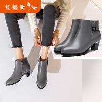 【红蜻蜓限时抢购,1件2折】红蜻蜓女鞋冬季新款尖头舒适粗跟短靴纯色低跟加绒真皮靴