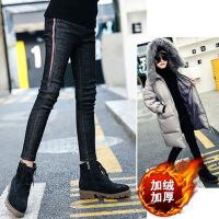 女童牛仔裤冬装新款韩版弹力铅笔裤儿童保暖中大童加绒长裤子