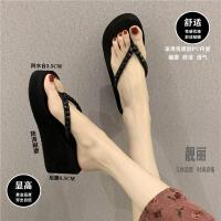 618提前购+2019新款拖鞋女外穿夏时尚百搭网红防滑坡跟夹脚高跟人字拖凉拖鞋