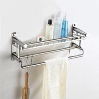 卫生间置物架不锈钢毛巾架免打孔洗澡间收纳架浴巾架五金挂件抖音