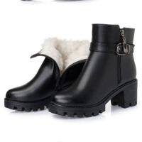 短靴女粗跟冬季新款厚底加绒马丁靴高跟女靴加厚保暖妈妈棉靴 黑色