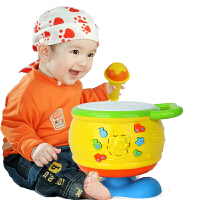 橙爱优乐恩 儿童电动玩具鼓 音乐手拍鼓 多功能宝宝发光拍拍鼓 幼儿益智音乐玩具1-3岁