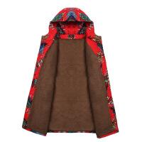 新款民族风妈妈装冬装加绒棉袄中老年女装冬季中长款加厚棉衣外套