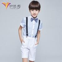 小学生背带裤表演服儿童节花童礼服男童套装主持人钢琴演出服