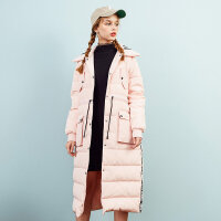 美特斯邦威bf羽绒服女长款过膝冬装新款收腰面包服显瘦韩版