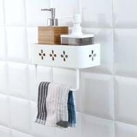 浴室置物架免打孔卫生间无痕贴置物架厨房塑料壁挂式收纳架毛巾架