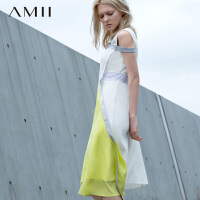 Amii极简设计师合作款撞色拼接无袖连衣裙夏季女圆领A字中长裙子