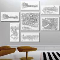 咖啡厅设计服饰画挂画手绘油画壁画城市街道巴黎意大利无框画壁贴 一套 6幅