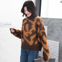 的豹纹毛衣女冬2018新款高领毛线衣韩版套头加厚针织上衣 均码