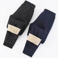 运动裤冬季男裤子韩版加绒卫裤小脚羊羔绒加厚休闲裤束脚外穿棉裤