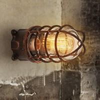 loft工业风复古壁灯美式创意铁艺吸顶灯走廊过道个性户外防水壁灯 古铜色壁灯配LED光源