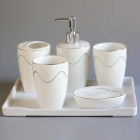欧式浮雕卫浴洁具五件套洗漱套装浴室用品套件漱口杯陶瓷浴室用品