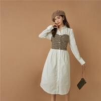 【品牌直降价:297元】七格格OtherMix法式格子连衣裙女2021年早秋季新款假两件设计感衬衫长裙