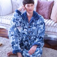 睡衣男士加厚法兰绒长袖秋冬季珊瑚绒套装家居服英文字母春秋季
