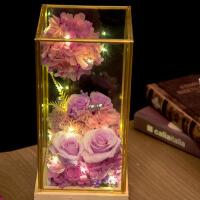 lover玫瑰花永生花diy玻璃罩摆件情人节生节礼物