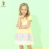法纳贝儿女童装网纱拼接短袖公主裙卡通印花连衣裙夏季新款EH5L3