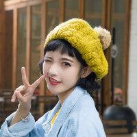 毛线帽子女秋冬甜美可爱贝雷帽日系手工南瓜帽韩版软妹毛球画家帽