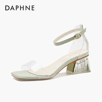 达芙妮透明凉鞋女夏季2020新款网红一字扣带水晶粗跟仙女高跟鞋