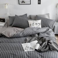 纯棉四件套全棉条格床品套件1.8/1.5m床上用品被套床单宿舍三件套
