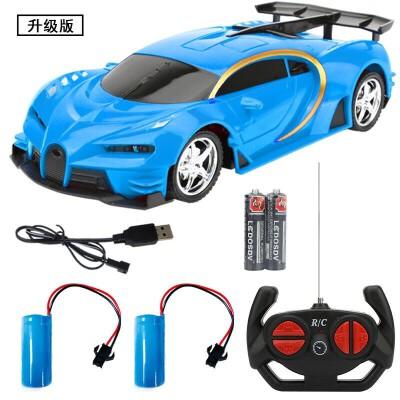儿童遥控汽车玩具车充电男孩电动无线遥控车赛车漂移小汽车带灯光 充电锂电版-蓝-2组锂电池 送2节普通电池 官方标配