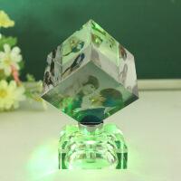 水晶装饰摆件情人节创意礼物旋转发光diy定制照片礼品生日送女友