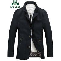 战地吉普男士秋冬保暖毛呢大衣 男装韩版时尚休闲立领中长款羊毛呢大衣外套