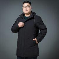 胖子中长款棉衣男加肥加大码宽松肥佬男装加厚棉袄外套冬装 166黑色 L