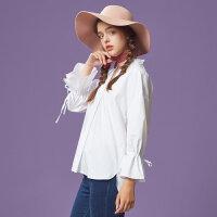 【2件2.5到手价:47.5】美特斯邦威长袖衬衫女士秋季新款袖口系带衬衣722500商场同款