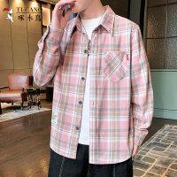 啄木鸟 长袖格子衬衫男装男士上衣格仔衫 G42