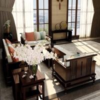 【品牌特惠】新中式沙发 后现代轻奢禅意布艺沙发 中国风整装客厅家具 深胡桃