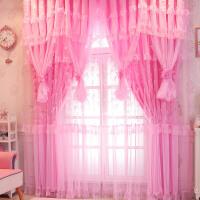 韩式紫粉遮光蕾丝纱窗帘成品婚房公主风简约现代客厅落地卧室飘窗L10定制