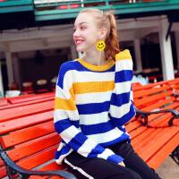 的网红毛衣女2018新款秋冬宽松慵懒风套头长袖针织衫上衣 蓝白条纹 均码