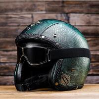 摩托车头盔半盔 四季踏板车3/4 盔 男女电动机车皮盔