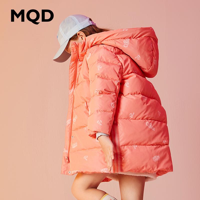 【1件3折:480】MQD童装女童加厚羽绒服保暖2019冬装新款儿童连帽中长派克羽绒服