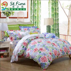 [当当自营]富安娜家纺纯棉四件套1.5米1.8米床印花套件 恰逢花开 红色 1.5m