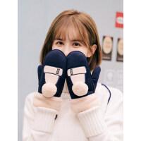 手套女冬可爱韩版卡通学生连指挂脖保暖加厚绒防寒骑车麂皮绒手套