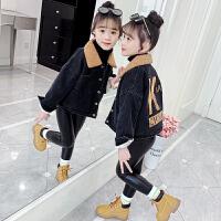 女童牛仔外套春秋儿童春装黑色时髦洋气中大童短款潮
