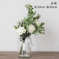 北欧小清新绢花假花仿真花客厅花瓶装饰品摆件玫瑰餐桌花艺摆设